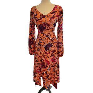 Orange floral print midi dress long sleeves